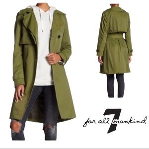 7 for all mankind green belted trench coat size Small